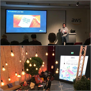 Collage mit Bildern vom Amazon Web Services (AWS) Pop-up Loft